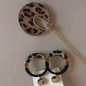 Boutique Animal Print Leopard Earring Necklace Set